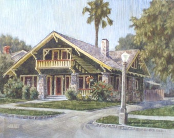 Custom House Portrait, House Painting, Watercolor Portrait, Personalized, Custom Family Gift, Painting of Building, Painting of My House