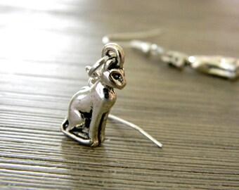 Sitting Cat Earrings Dangle Earrings Silver Color Three Dimensional