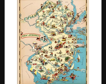 New Jersey Map - Map of New Jersey - Vintage Map - Print - Poster - Wall Art - Home Decor