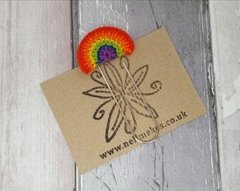 Rainbow bookmark, crochet rainbow, giant paperclip, book lover gift,