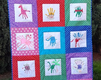 Custom Handprint Quilt - lasting memory quilt, lap quilt, throw quilt, personalized for you with hand or footprints! by Sew4MyLoves