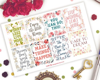 Motivational Quotes Planner Stickers |  Happy Planner Stickers | Erin Condren Stickers | Full Boxes Stickers