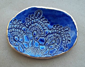 Ceramic Cobalt Blue Lace Ring Dish edged in gold