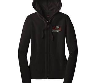 RN Custom Jacket Design-2A Lightweight Jacket. Monogrammed Full Zip Jacket. Monogrammed Hoodie.   Juniors Zip Up Jacket. DT2100