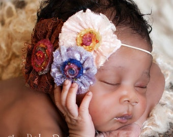 Velvet and Lace Flower Clip or Band by Chic Baby Rose Great Photography Prop