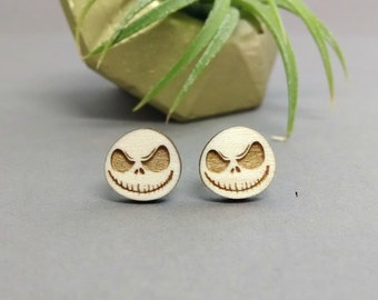 Jack Skellington Earrings - Laser Engraved Wood Earrings - Hypoallergenic Titanium Post Earring Pair - Nightmare Before Christmas