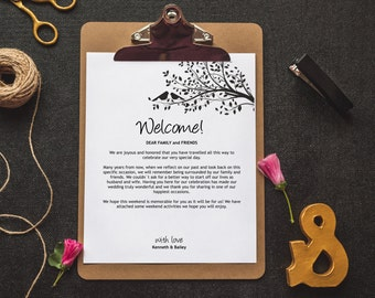 Wedding Welcome Letter and Itinerary Template, Welcome Bag, Printable Itinerary, Welcome Letter, Wedding Favor, Wedding Printables