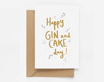 Happy Gin and Cake Birthday Card - Eddie and The Giant Peach