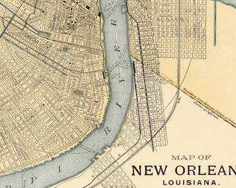 Vintage map of New Orleans-Instant Digital Download.Old map of United States of America map.New Orleans PRINTABLE map.Map clip art.
