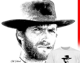 40% OFF SALE Clint Eastwood Drawing T shirt  drawing of most anything is available