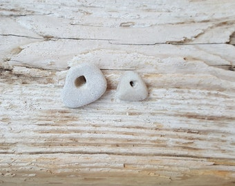 2 Pc Natural Beach Stone With Hole -Sea Stone Pendant-Good Luck Stone -Beach Find