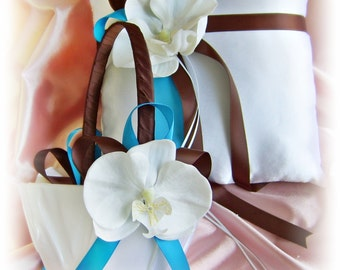 Chocolate brown and turquoise wedding ring pillow and basket, orchid flower wedding ring cushion and basket set