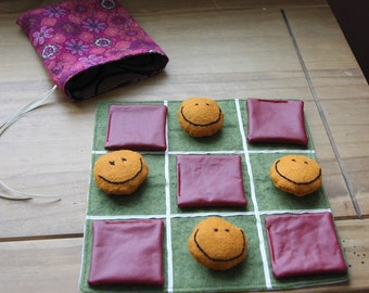 Felted wool Tic Tac Toe game