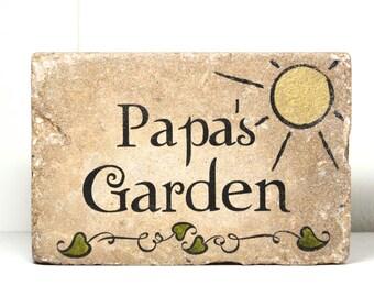 Custom Garden Stone. 6x9 Personalized PAPA'S GARDEN. Rustic tumbled concrete paver. Grandma or Grandpa Garden Sign. Personalized Name Stone