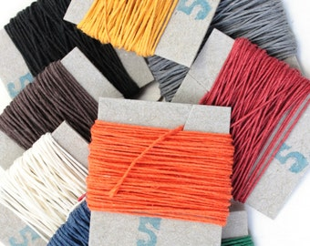 25m English 3-ply Linen Thread, Non-Waxed, Colours of your choice