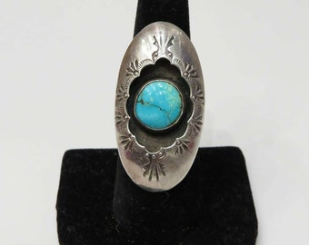 Vintage Sterling Silver Shadowbox Turquoise Ring sz 8