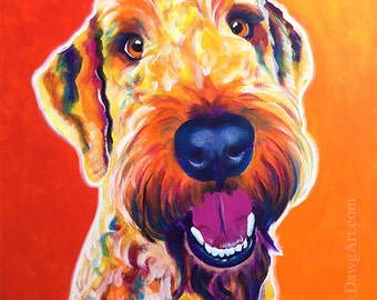 Airedoodle, Pet Portrait, DawgArt, Dog Art, Pet Portrait Artist, Colorful Pet Portrait, Airedale Art, Art Prints, Airedale, Poodle