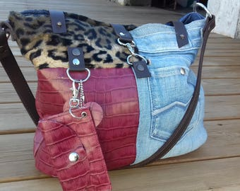 Half leather half jeans bag