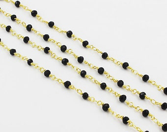 Wholesale Black Chalcedony Rosary Beaded Chain Gold Plated Wire Wrapped chain By foot