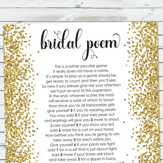 Wedding Gift Poem Cards: Bridal Poem Game Bridal Shower Points Poem Gold Confetti