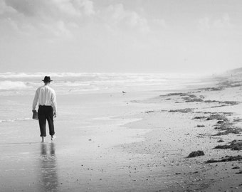 Beach Print - Man on the Shore Black and White Photograph - Lonely Seaside Walker - Moody Florida Beach - The Emigrant