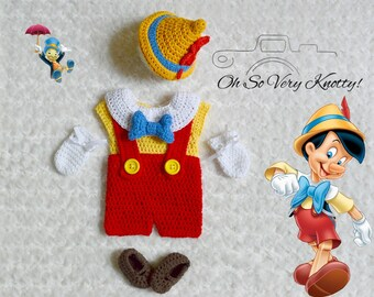 Handmade Disney's Pinocchio inspired baby boy crochet outfit/costume/photo prop. Suspenders, Bow tie, shoes, mitts, shirt, pants 100% cotton