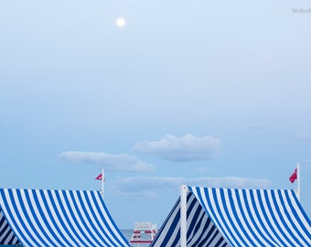 Beach Photography, Lifeguard Tower Stand, Cape May New Jersey, Blue White Abstract Stripe, Nautical Home Decor