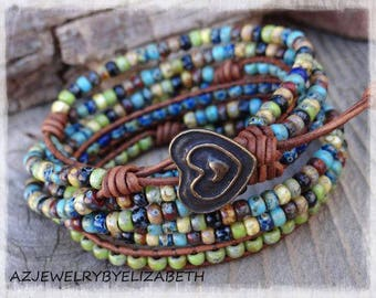 Beaded Leather Wrap Bracelet/ Seed Bead Wrap Bracelet/ Leather And Seed Bead Bracelet/ Boho Wrap Bracelet/ Bohemian Bracelet**