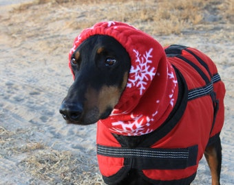 Polarfleece Snood for Large Dog - RED with Snow Flakes - Dog Snood - Snood - Red Snood