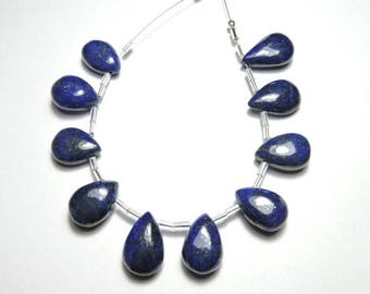 10 Pieces Very Beautiful Natural Lapis Lazuli Smooth Polished Pear Shaped Beads Size 16X11 - 18X12 MM