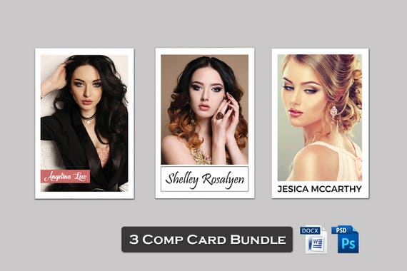 3 Model Comp Card Template Bundle Modeling Comp Card Model