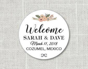 Welcome Wedding Stickers, Welcome Stickers for Favors, Custom Thank You Wedding Labels, Personalized Thank You Stickers