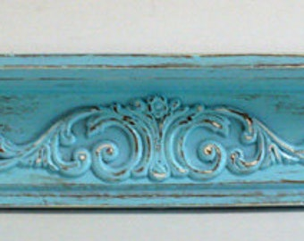Shabby Chic French Country Farmhouse Cool Blue Wooden Shelf