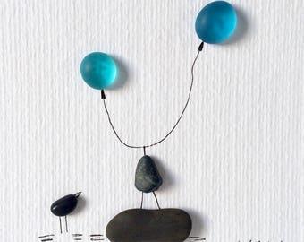 Bird with blue balloons
