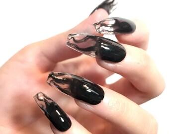 Black Goth Liquid Witch Nails l Press in nails |Press on nails | Press on nail | Fake nails,False nails |Glue on nails|Stiletto fake
