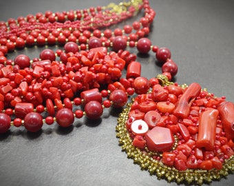 Red Genuine Branch Coral Multi Strand Large Round Pendant Layered Necklace Natural Bamboo Coral Beaded Boho Statement Jewelry Gift for Mom