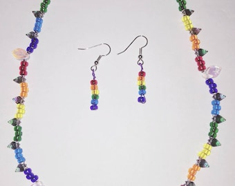 Rainbow bead necklace and earrings