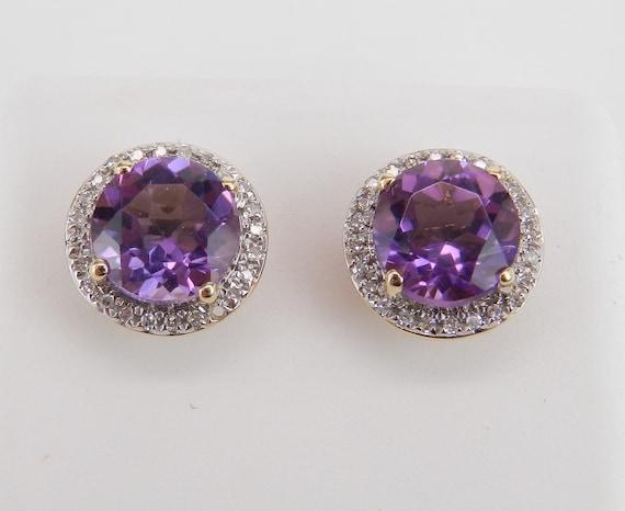 Amethyst and Diamond Stud Earrings Halo Studs 14K Yellow Gold February Birthstone