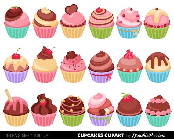 cupcakes clipart digital cupcake clip art cupcake digital rh etsy com cupcake clipart black and white free cupcakes clipart black and white