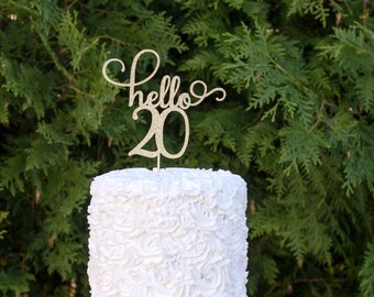 hello 20 cake topper, happy 20th birthday cake topper, happy 20th party decor, happy birthday, 20th birthday decor, twenty birthday topper
