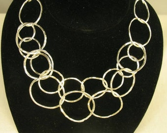 Silver Fusion Hammered Necklace