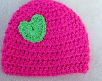 Baby Girl Hat, Pink and Lime Green Baby Hat, Crochet Newborn Heart Hat, Baby Girl Beanie, Baby Photo Prop, Heart Beanie, Baby Skull Cap
