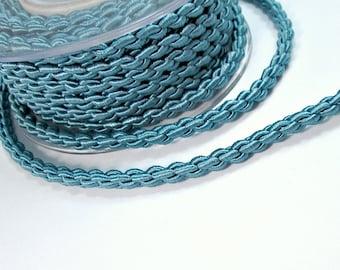 """Satin thick """"chain"""" braided silk cord, grey blue, 1m"""