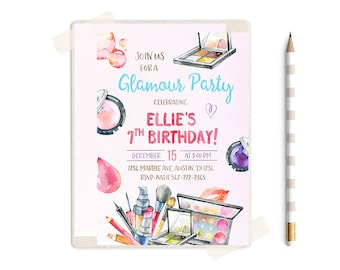 Glamour Party Invitation, Spa Birthday Party Invitations, Makeover Invitation, Makeup Invitations,  Girls Birthday Party Invitations, Spa,