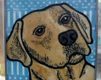 Yellow Lab  Stained Glass Dog Suncatcher JRN208