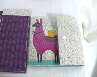 Coin Purse, Card Holder, Llama, Cactus, Add on Envelopes and Wallet, Slim Wallet, Mininmalist, Gift Set, Snap Closure, Vinyl, Hand Stitched