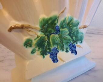 McCoy Pottery Finger Vase Grapes and Leaves Curio Line Mid Century Decor 5 Finger Flower Bud Vase