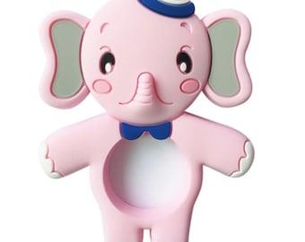 Pink elephant silicone teething ring