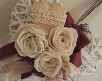 Cuore rose color panna-Heart with cream rose
