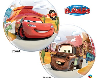 """Cars Bubble Balloon 22"""" Latex Lightning McQueen Tow Mater Cars Birthday Party"""